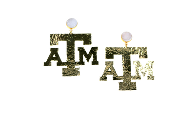 Texas A&M Gold Logo Earrings with White Druzy