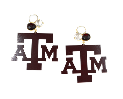 Texas A&M Maroon Logo Earrings with 3 Gemstones