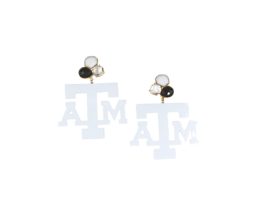 Texas A&M White Logo Earrings with 3 Gemstones
