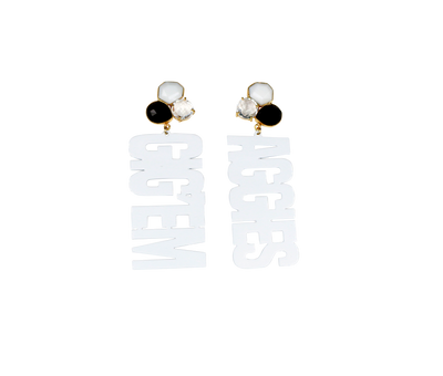Texas A&M White GIG'EM AGGIES Earrings with 3 Gemstones