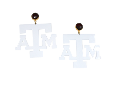 Texas A&M White Logo Earrings with Garnet