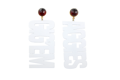 Texas A&M White GIG'EM AGGIES Earrings with Garnet
