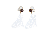 Texas A&M White Reveille Earrings with 3 Gemstones