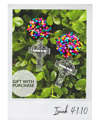 Gift With Purchase - Clear Shimmer Cross Earrings with Multi Beads