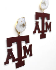 Texas A&M Maroon Logo Earrings with White Geode