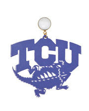 Vintage Purple TCU Horned Frogs Logo Earrings with White Agate