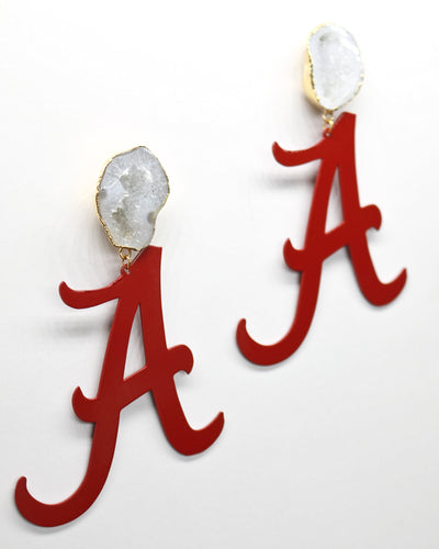 Alabama Crimson A Earrings with White Geode