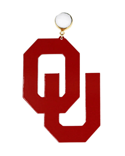 OU Crimson Logo Earrings with White Agate