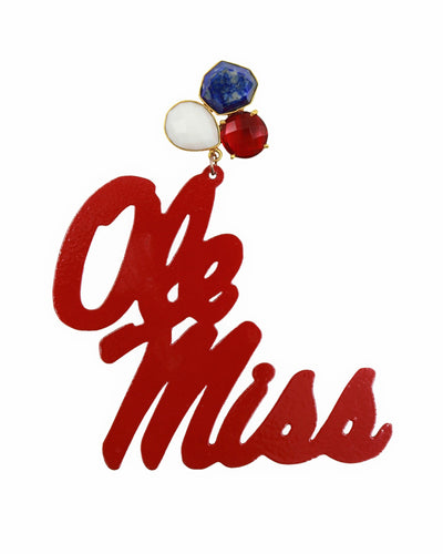 Ole Miss Red Script Earrings with 3 Gemstones