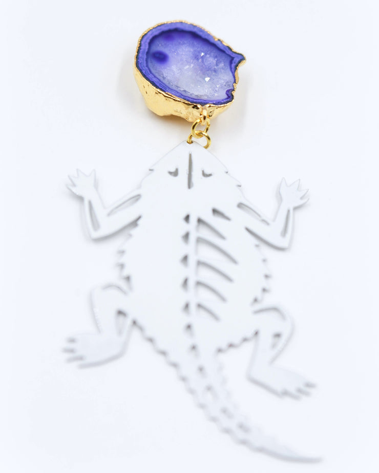 TCU White Horned Frog Earrings with Purple Geode