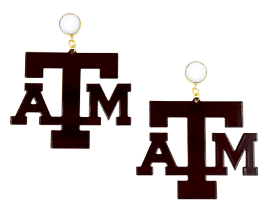 Texas A&M Maroon Logo Earrings with White Agate