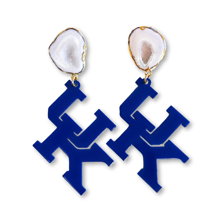 Kentucky Blue UK Earrings with White Geode