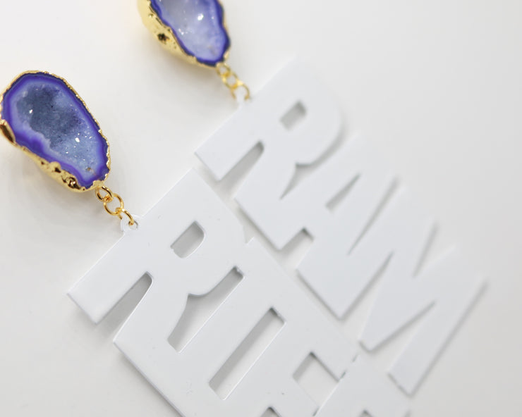 "TCU White ""RIFF RAM"" Earrings with Purple Geode"