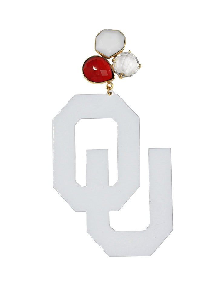 OU White Logo Earrings with 3 Gemstones