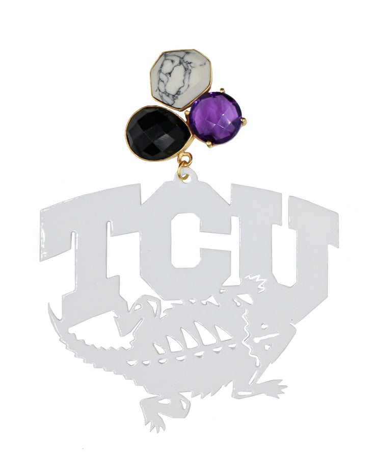White TCU Horned Frogs Logo Earrings with 3 Gemstones
