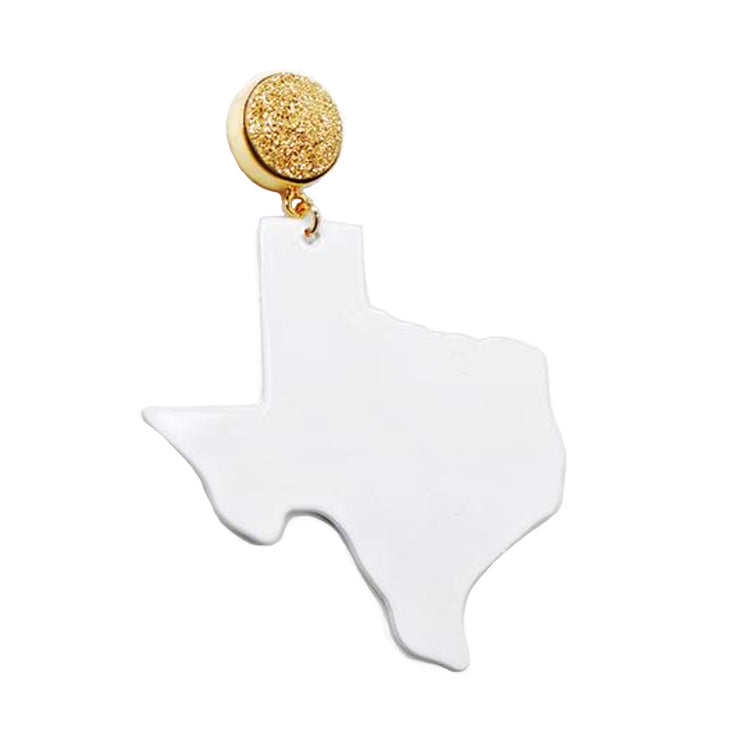 Texas Proud White Shape of Texas Earrings with Gold Druzy