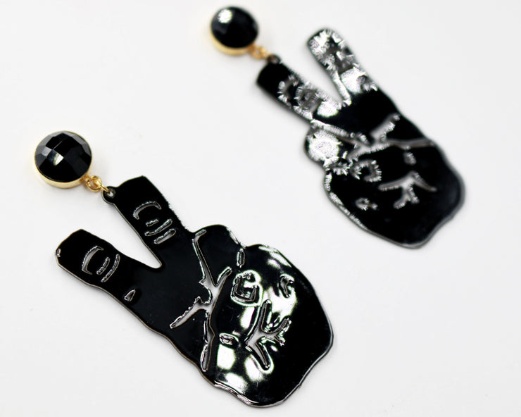 TCU Small Black Knuckle Up Earrings with Black Onyx