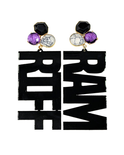 "TCU Black ""RIFF RAM"" Earrings with 3 Gemstones"