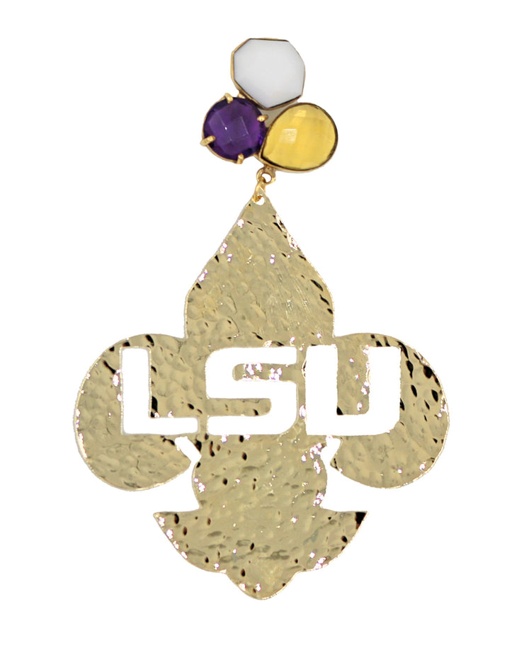 LSU Gold Fleur de Lis Earrings with 3 Gemstones