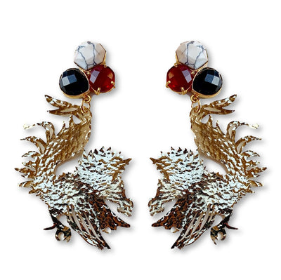 South Carolina Gold Gamecock Earrings with 3 Gemstones