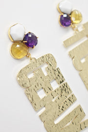 LSU Gold GEAUX TIGERS Earrings with 3 Gemstones