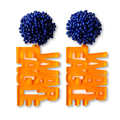 Auburn Orange Translucent Acrylic WAR EAGLE with Navy Blue Beaded Top