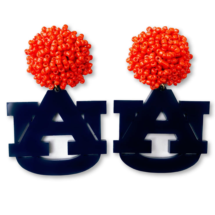 Auburn Navy Blue Acrylic AU Earrings with Orange Beaded Top