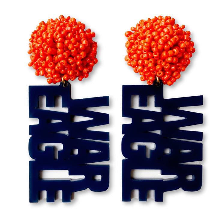 Auburn Navy Blue Acrylic WAR EAGLE Earrings with Orange Beaded Top