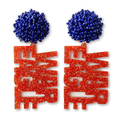 Auburn Orange Glitter Acrylic WAR EAGLE Earrings with Navy Blue Beaded Top