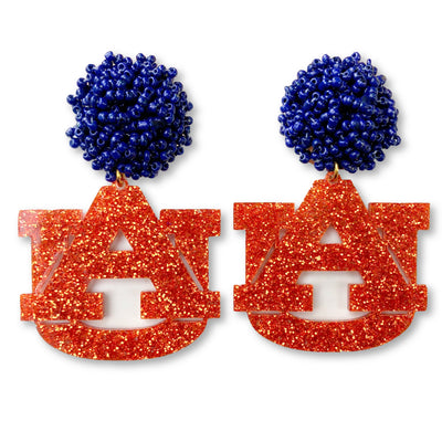 Auburn Orange Glitter Acrylic AU Earrings with Navy Blue Beaded Top