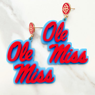 Ole Miss - Red Ole Miss Script Earrings over Powder Blue with Red Logo Top