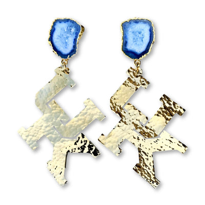 Kentucky Gold Logo Earrings with Blue Geode
