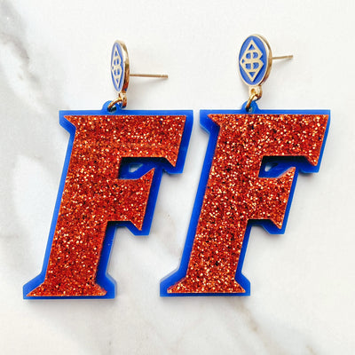 Florida - Orange Glitter F Logo Earrings over Orange with Blue Logo Top
