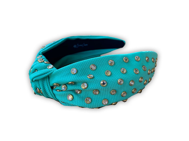 Turquoise Twill Knotted Headband with White Crystals