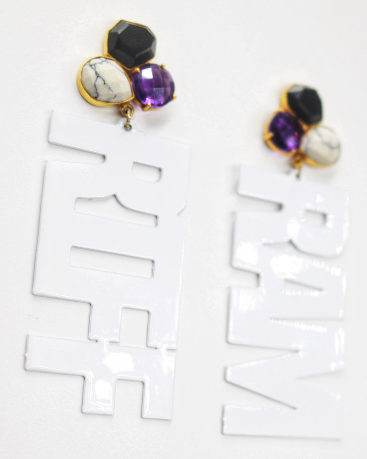 "TCU White ""RIFF RAM"" Earrings with 3 Gemstones"