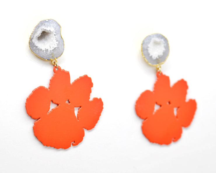 Clemson Orange Paw Earrings with White Geode