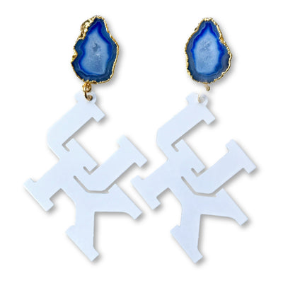 Kentucky White UK Earrings with Blue Geode