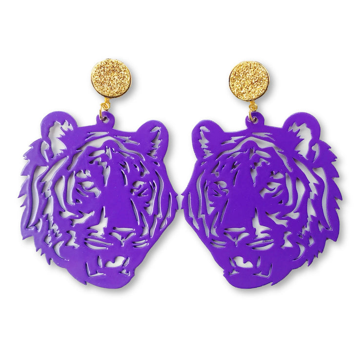 LSU Purple Tiger Earrings with Gold Druzy
