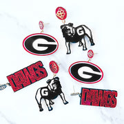 Georgia - Red Glitter DAWGS Earrings over Black with Black BC Logo Top