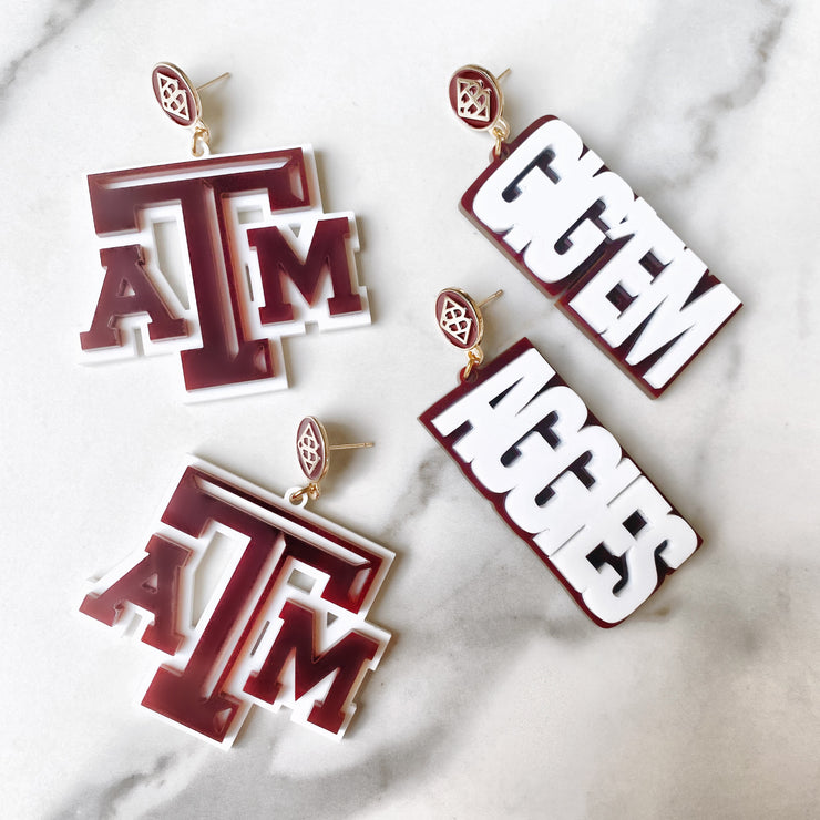 Texas A&M - White GIG'EM AGGIES Earrings over Maroon with Maroon Logo Top