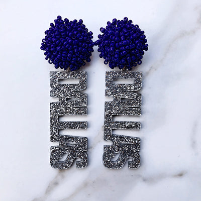 "Team Colors Silver Glitter Acrylic ""DALLAS"" Earrings with Navy Blue Beaded Top"