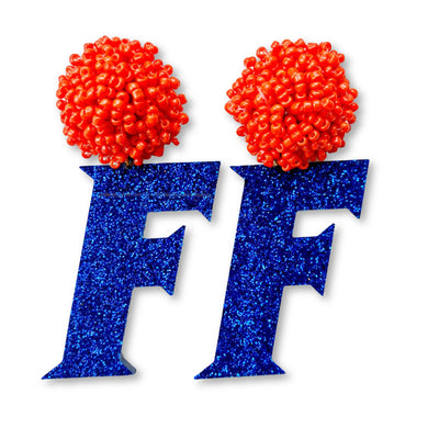 Florida Gators Block F in Blue Glitter with Orange Beaded Top