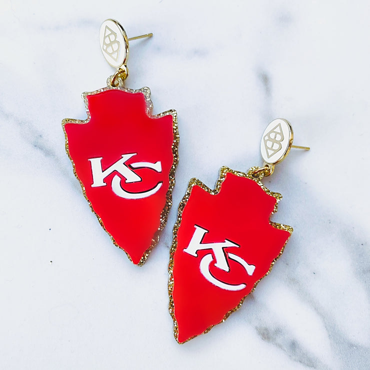 KC Arrowhead Earrings with White BC Logo Top