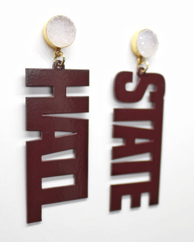 Mississippi State Maroon HAIL STATE Earrings with White Druzy