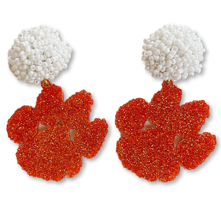 Clemson Orange Glitter Acrylic Paw with White Beaded Top