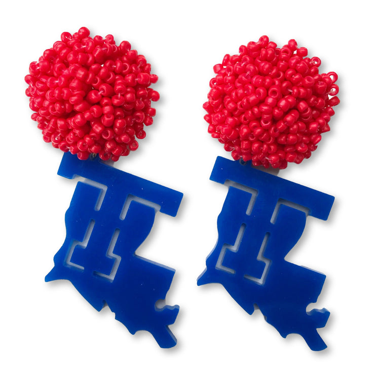 Louisiana Tech Blue Logo Earrings with Red Beaded Top