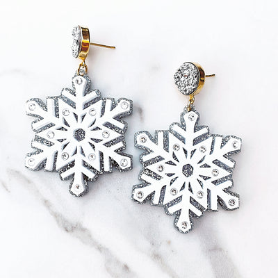 Mrs. Southern Social x Brianna Cannon - Snowflake Earrings with Swarovski Crystals