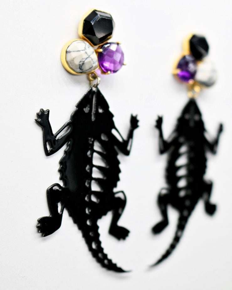 TCU Black Horned Frog Earrings with 3 Gemstones