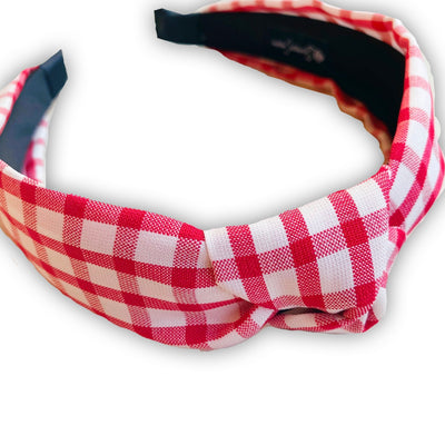 Red Gingham Check Knotted Headband