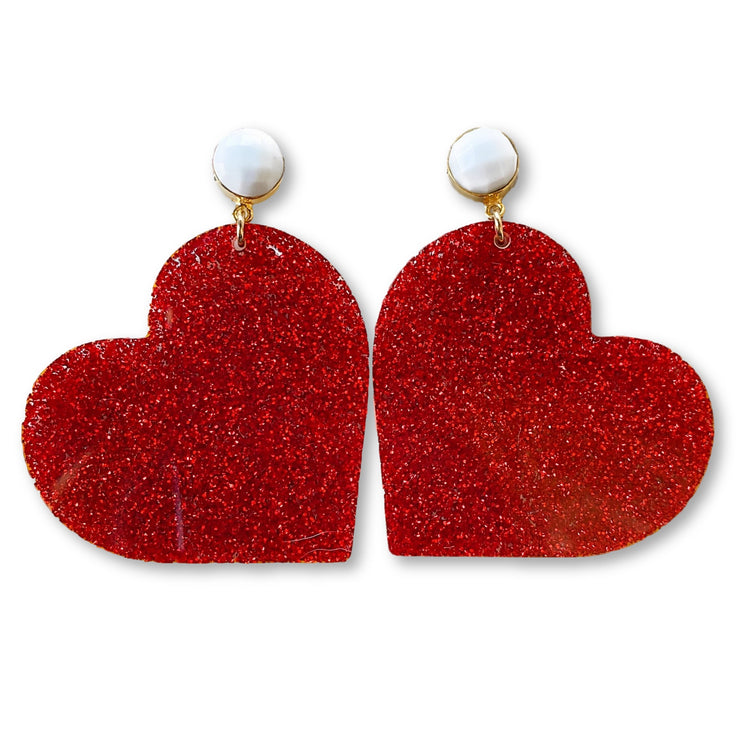 Valentine's Party - Red Heart Earrings with White Agate